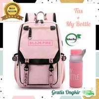 Tas Anak Perempuan Tas Backpack Wanita Ransel Blackpink plus My Bottle - Pink