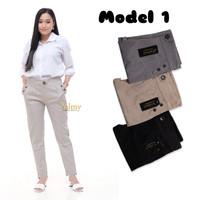 Valmy Celana Baggy Pants Wanita Twill Combed Halus Tebal - model 1, Hitam