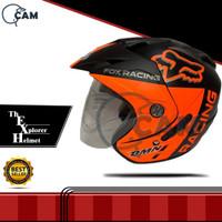 Helm 2 kaca fox black doff orange double visor