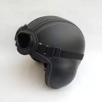 Helm Retro Pilot Kacamata Hitam Klasik Vespa CB Kulit