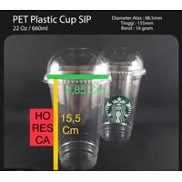 Plastic Cup PET / Gelas Plastik PET 22 Oz + Dome Lid @50 Pcs SIP 98.5