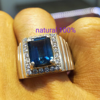 cincin batu blue topaz London 100%asli dan natural