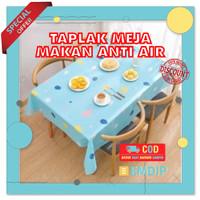 Taplak meja tamu makan anti air plastik panjang batik kotak set waterp