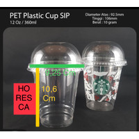 Plastic Cup PET / Gelas Plastik PET 12 Oz + Dome Lid @50 Pcs SIP 92.5