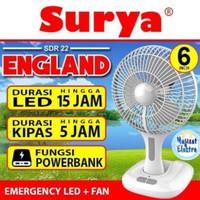 KIPAS ANGIN EMERGENCY + POWER BANK +LAMPU LED ARASHI 138 ENGLAND