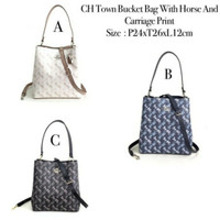 Tas Wanita Coach Town Bucket Bag With Horse and Carriage Print
