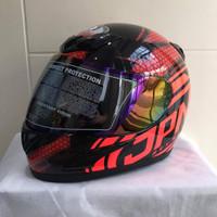 Helm JPN fullface No 94 hitam gloss stiker merah mix oren