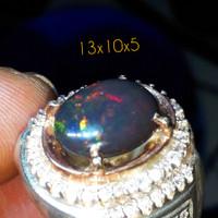 cincin batu kalimaya black opal kopi/translucent asli bantentop jarong