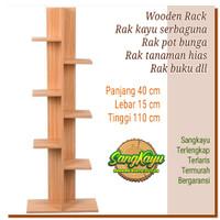 Rak buku rak tanaman hias 110 wooden rack shelves rak kayu serbaguna
