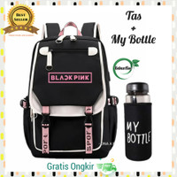 Tas Wanita Ransel Sekolah SD SMP SMA Backpack Kpop Plus My Bottle - Pink