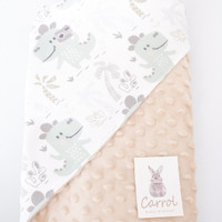 carrol baby hooded blanket dinosaur camera minky grey - minky cream - cream nude
