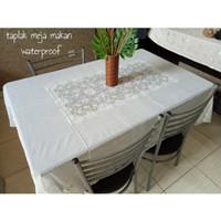 taplak meja makan putih waterproof kursi 6