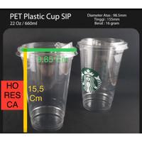 Plastic Cup PET / Gelas PET 22 Oz + Strawless Lid @50 Pcs SIP 98.5