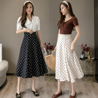(#821)Polkadot Skirt/Maxi Skirt/Rok Panjang
