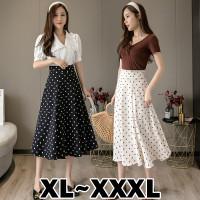(#821 BIGSIZE XL/XXL/XXXL)Polkadot Skirt/Maxi Skirt/Rok Panjang