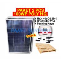 Paket 2 pcs Panel Surya 100Wp Poly + 1pcs Controller 20A + MC4 2in1