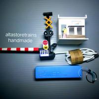 miniatur palang pintu kereta api + powerbank