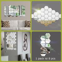 kaca dinding akrilik tempel hiasan acrylic cermin hexagonal ruang tamu