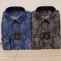 Alisan Kemeja Batik Print Slimfit Lengan Panjang Abu abu / Biru - Abu-abu, S
