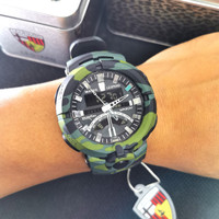 jam tangan pria super premium leopard dual time rubber loreng water - loreng hijau