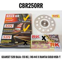 GIRSET GEARSET GIR SET SSS HONDA CBR250RR BAJA, RANTAI GOLD HSBT