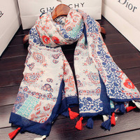 pashmina hijab scarf motif bunga kecil import