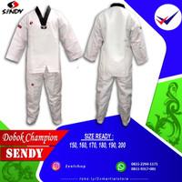dobok seragam taekwondo Sendy Champion Kerah Hitam Senior baju fighter