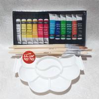 Paket Cat Akrilik 12 warna, Kuas Lukis 6 buah, palet