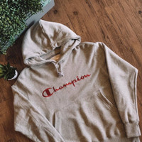 Champion Big Script Logo Pullover Hoodie Colour: Grey Red Original