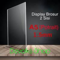 TEMPAT BROSUR / TENT CARD AKRILIK DISPLAY 2 SISI A5 TEBAL 1.5MM