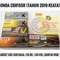 GIRSET GEARSET SSS HONDA CBR150R K45N 428 LOBANG 6, RANTAI SSS HSBT