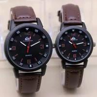 jam tangan couple quick silver pria / wanita - coklat tua
