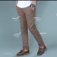celana chino panjang pria slim fit warna mocca / coklat / best seller - Cokelat, 28