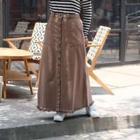 Rok Panjang Denim / Jeans atau Warna-warna - Cokelat