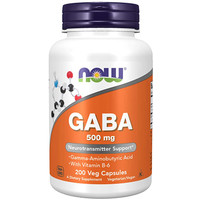 Now Foods GABA 500 mg 200 Veg Capsules Food Gamma Aminobutyric acid B6