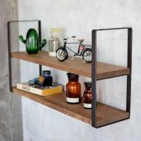 Rak dinding 2 ambalan kayu dan besi make up hiasan dekorasi - 50x20
