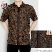Kemeja Pria Batik Size M L XL XXL Katun Coklat Anfa Kantong List