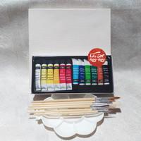 Paket Melukis, Paket Lukis, Kuas, Cat set 12, Palet, Kanvas 20 x 20cm