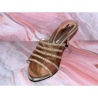 High Heels Morissett (MH78) Sandal Hak Lancip Peep Toes Gold (7 Cm)