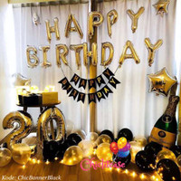 Balon foil led set paket birthday ulang tahun black fancy champagne