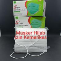 Masker 3 Ply 3ply / Medical Mask / Protection Face Mask Headloop Hijab