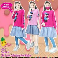 Set tunik Junior free masker LP431-1 untuk anak perempuan 8-14thn