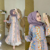 LITTLEGREYSHOP Maxi Bangkok Dolly import Dress Wanita Muslim - Biru