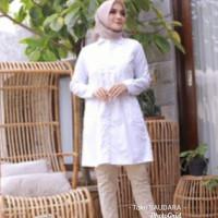 kemeja formal wanita putih body panjang (muslimah)