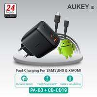 Aukey Charger PA-B3 + Aukey Cable CB-CD19 Black/Red