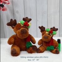 Boneka Natal Rusa Reinderr Yelvo Pita Cherry 25cm import kado souvenir