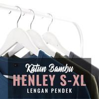 Kaos Henley Polos Katun Bambu (Cotton Bamboo) Lengan Pendek Kaos Pria