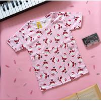 Kaos anak katun motif Pink Christmas
