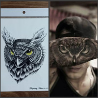 HB-655 TATO TEMPORER / Temporary Tatoo palsu sticker OWL burung hantu