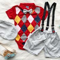 Setelan jumper bayi anak cowok diamond suspender set